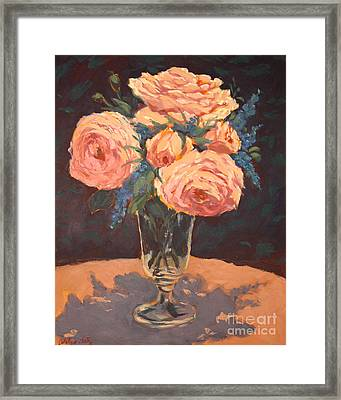 Peonies Framed Print by Monica Caballero