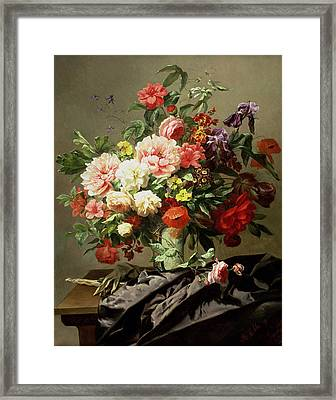 Peonies, Poppies And Roses, 1849 Framed Print