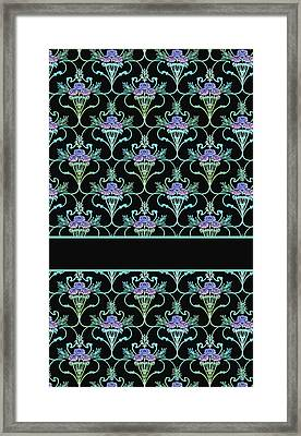 Peony Damask On Black Framed Print by Jenny Armitage