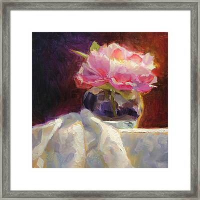 Peony Glow - Square Still Life Framed Print by Karen Whitworth