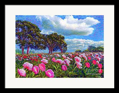 Pink Peony Blossoms Framed Prints