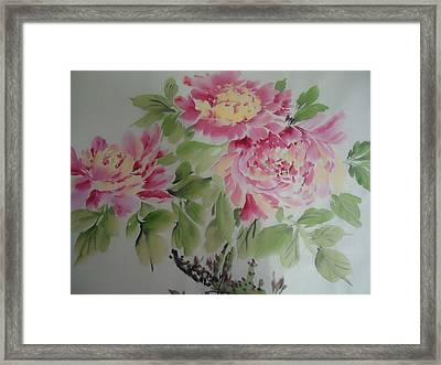 Peony015 Framed Print by Dongling Sun