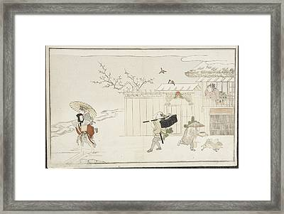 People And A House Framed Print