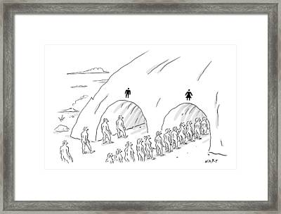 People Are In Line At Two Tunnels Going Framed Print