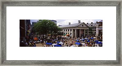 People At A Market, Quincy Market Framed Print