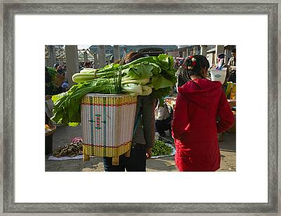 People At A Vegetable Market, Xizhou Framed Print by Panoramic Images