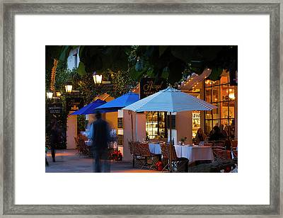 People At Cafe Along State Street Framed Print