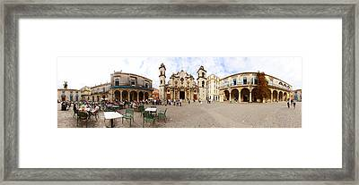 People At Plaza De La Catedral Framed Print by Panoramic Images