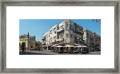 People At Sidewalk Cafe On The Street Framed Print