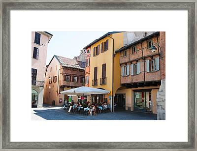 People At Sidewalk Cafe, Piazza San Framed Print by Panoramic Images