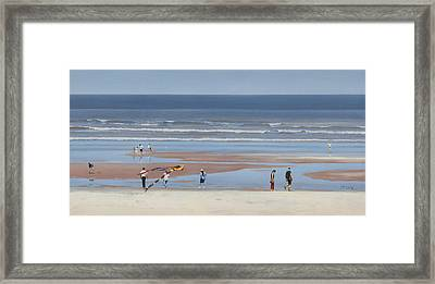 People At The Beach Framed Print by Mark Van Crombrugge