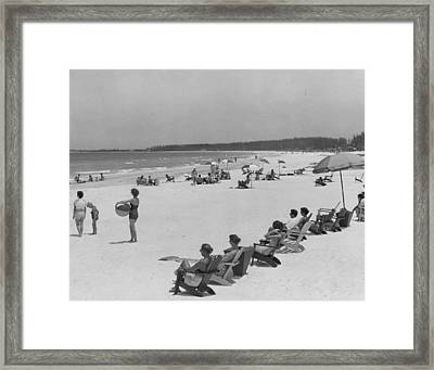 People At The Beach Framed Print by Retro Images Archive
