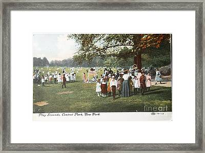 People At The Playground In Central Park Circa 1910  Framed Print