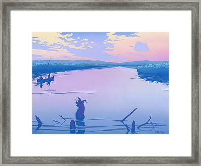 abstract people Canoeing river sunset landscape 1980s pop art nouveau retro stylized painting print Framed Print by Walt Curlee