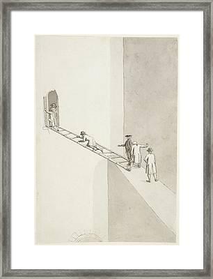 People Climbing Across A Gap Framed Print