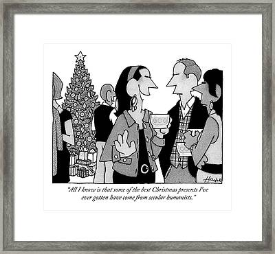 People Converse At A Cocktail Party Framed Print