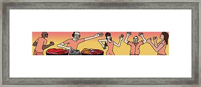 People Dancing At A Bbq Where The Grills Resembe Framed Print