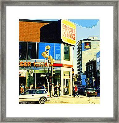 People Enjoy Beautiful Downtown Sainte Catherine Burger King Peel Scene By Hotel Comfort Suites Framed Print by Carole Spandau