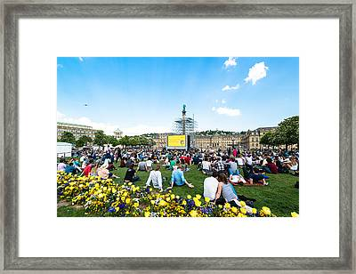 People Enjoying Open Air Cinema In The City Center Of Stuttgart - Germany Framed Print by Frank Gaertner