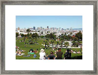 People Enjoying The View Of San Framed Print by Jill Schneider