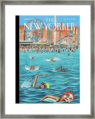 People Enjoying Themselves At Coney Island Framed Print by Mark Ulriksen