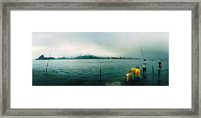 People Fishing, Guanabara Bay, Niteroi Framed Print by Panoramic Images