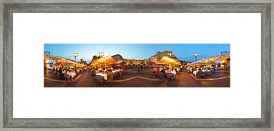 People Having Outdoor Dining Framed Print by Panoramic Images
