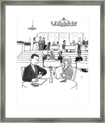 People In A Busy Restaurant Framed Print