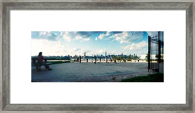 People In A Park, East River Park, East Framed Print by Panoramic Images