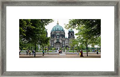 People In A Park In Front Framed Print by Panoramic Images