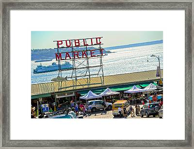 People In A Public Market, Pike Place Framed Print by Panoramic Images