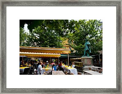 People In A Restaurant, Place Du Forum Framed Print by Panoramic Images