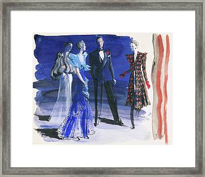 People In Evening Wear Framed Print by Ren? Bou?t-Willaumez
