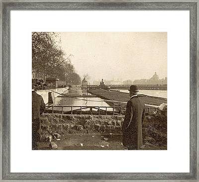 People Look At The High Elevations Of The Seine Framed Print
