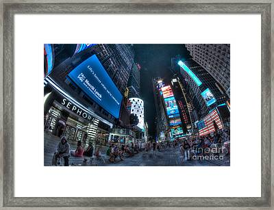 People Of Times Square Framed Print