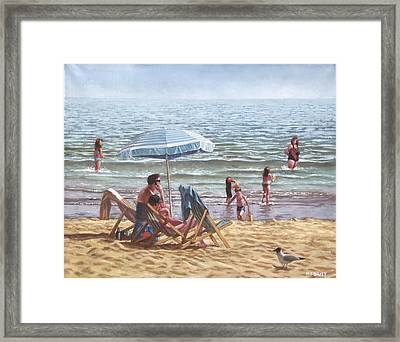 People On Bournemouth Beach Parasol Framed Print by Martin Davey