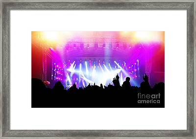 People On Music Concert Disco Party Framed Print by Michal Bednarek