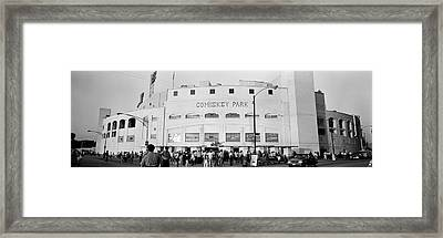 People Outside A Baseball Park, Old Framed Print
