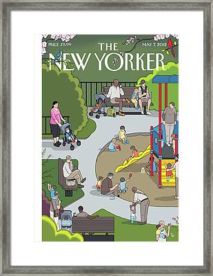 People Playing At A Playground Withtheir Kids Framed Print by Chris Ware