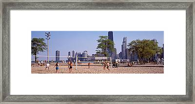 People Playing Beach Volleyball Framed Print