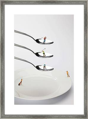 People Playing Golf On Spoons Little People On Food Framed Print by Paul Ge