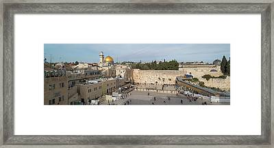 People Praying At At Western Wall Framed Print
