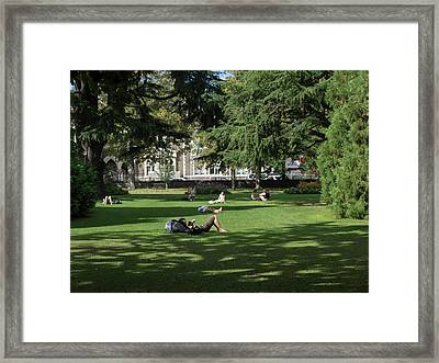 People Relaxing In Hagley Park Framed Print