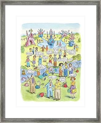 People Share Good News Around A Garden Framed Print