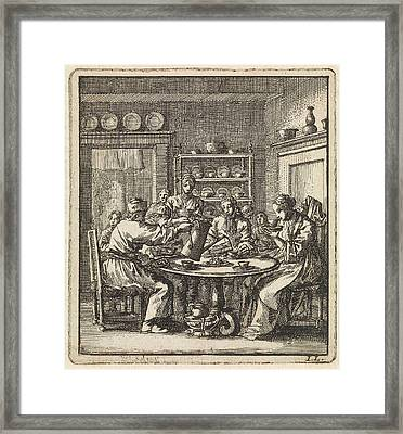 People Sit At A Table Drinking Coffee, Print Maker Jan Framed Print by Jan Luyken And Wed. Pieter Arentsz & Cornelis Van Der Sys Ii