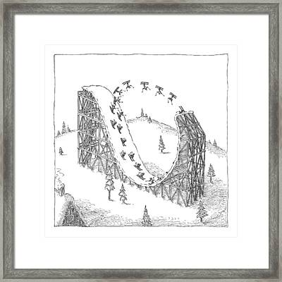 People Ski On A Circular Ski Ramp That Resembles Framed Print by John O'Brien