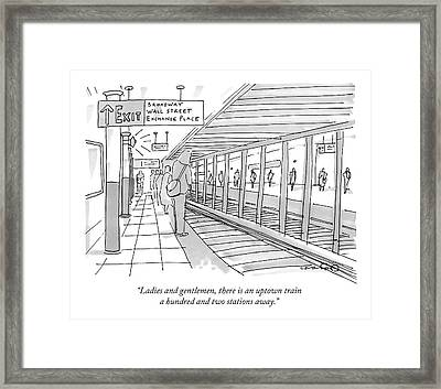 People Stand On A Subway Platform Awaiting Framed Print by Michael Crawford