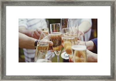 People Toasting With Champagne Flute Framed Print by Viktoria Rodriguez / Eyeem