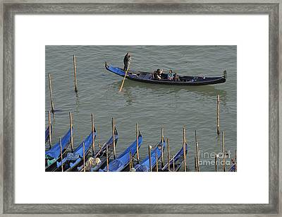 People Touring Venice In Gondola Framed Print