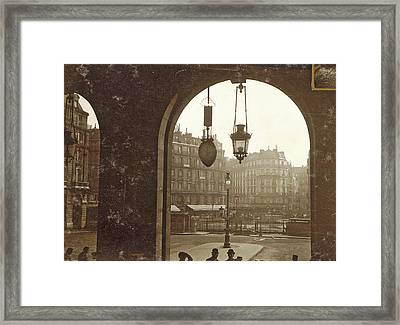 People Under An Arcade In A Square During The Flooding Framed Print